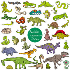 reptiles and amphibians characters set