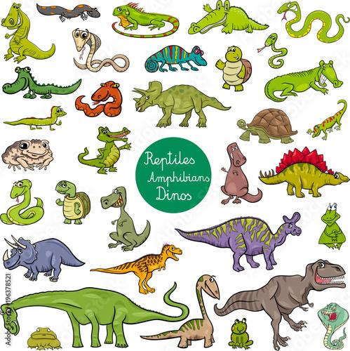 Fototapeta reptiles and amphibians characters set