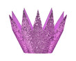Lila light violet glitter birthday crown isolated white