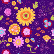 Vector floral summer pattern in doodle graphyc style