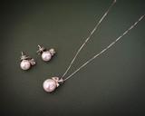 bride pearl earrings and pendant