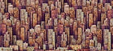 Hand drawn background with big city. Illustration with architecture, skyscrapers, megapolis, buildings, downtown. - 196383782