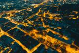 panoramic view of old european city on twilight. bird's eye view.