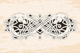 Celtic two-headed dragon with national ornament intertwined ribbon on a beige background with the aging effect. - 196384981