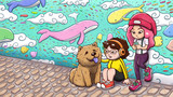 Two urban girls and a chow chow dog hanging out in front of a graffiti wall, with whales and fishes flying in the sky. Painted version.