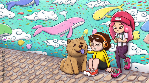 Fotobehang Graffiti Two urban girls and a chow chow dog hanging out in front of a graffiti wall, with whales and fishes flying in the sky. Painted version.