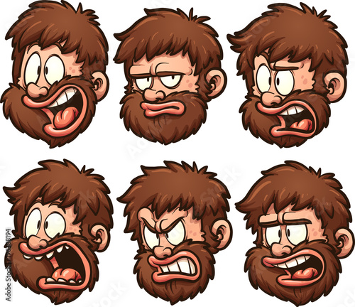 Cartoon caveman head with different expressions. Vector clip art illustration with simple gradients. Each on a separate layer.
