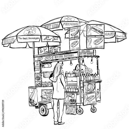In de dag Art Studio Hot dog street cart in New York