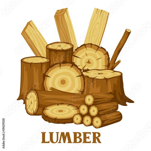 Tło z kłody drewna, pnie i deski. Projekt dla leśnictwa i przemysłu drzewnego