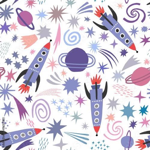 Space seamless pattern with spaceship and stars