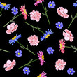 Seamless background with cute garden flowers. Design for cloth, wallpaper, gift wrapping. Print for silk, calico, home textiles.Vintage natural pattern. - 196394765