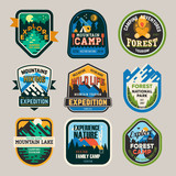 Fototapety Isolated signs, logo for camping club, exploration