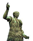 Trajan the conqueror, one of the greatest  ancient roman emperor, bronze statue along Imperial Fora avenue in the very center of Rome (isolated on white background) - 196395520