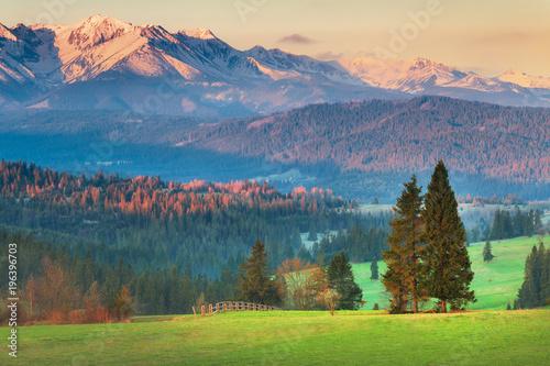 Tatra mountains at the sunset