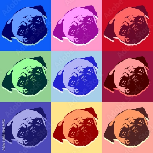 Poster Draw Pug Puppy Dog PopArt Vector