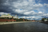 View of the Kremlin embankment and the Moscow River, Moscow, Russia - 196398104