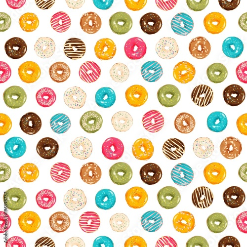Poster background with colorful donuts with glaze