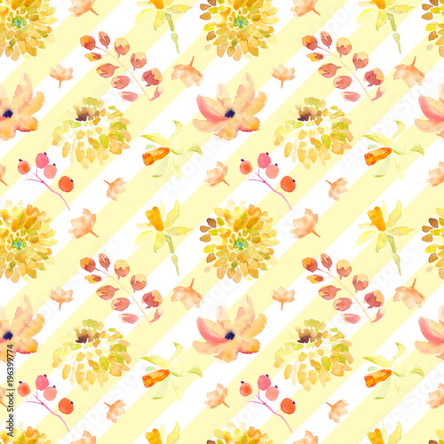 Yellow summer flowers seamless pattern with beautiful orange floral illustrations for creating of wedding card, boho vintage invitation, poster and web banner background. - 196399774