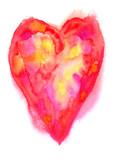 Abstraktes rotes Herz Aquarell gemalt