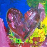Herz abstraktes Acrylgemälde auf Leinwand