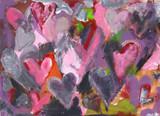 Viele tanzende Herzen Acryl gemalt