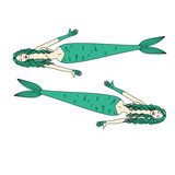 Two mermaids with green hair
