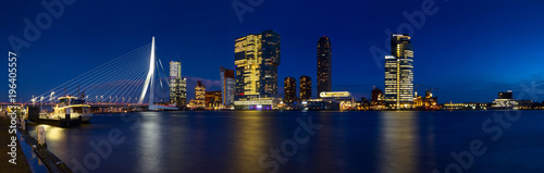 In de dag Rotterdam City Landscape, panorama - Night view on Erasmus Bridge and district Feijenoord city of Rotterdam, The Netherlands.