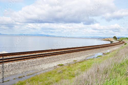 Sticker Railroad tracks with San Fransisco skyline in background