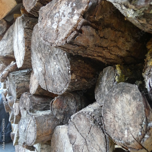 Keuken foto achterwand Brandhout textuur close up stacked firewood