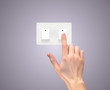 Realistic 3D Silhouette of  hand with light switch Vector Illustration