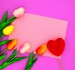 Leinwanddruck Bild - redand pink tulips.flower background