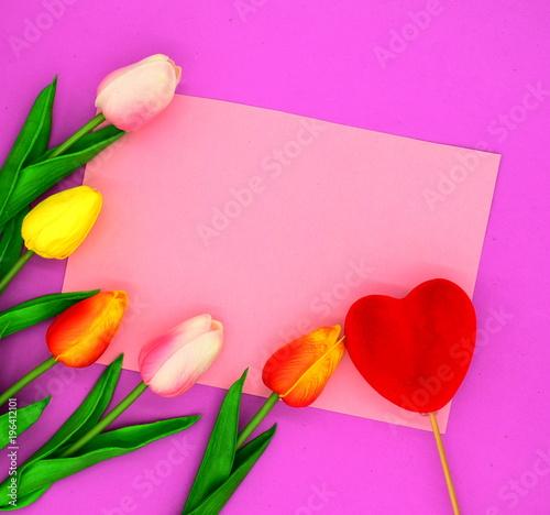 Leinwanddruck Bild redand pink tulips.flower background