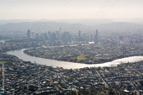 Brisbane City & River  Aerial View  in Late Afternoon Sunshine