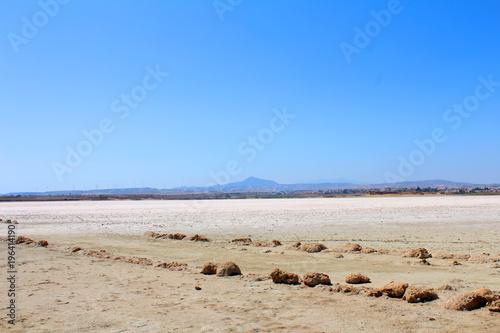 Fotobehang Cyprus Salt Lake in Larnaca, Cyprus