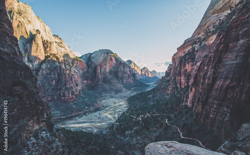 Blue sky Angels Landing Zion National Park Utah