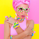 Candy Sweet Fashion Girl in marshmallow accessory. Candy chic - 196414918