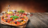Hot Pizza Served On Old Table  - 196415353