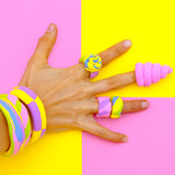 Hand in candy accessories. Minimal sweet mood - 196415361