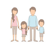 light color caricature faceless family with young parents and little kids taken hands vector illustration - 196416185