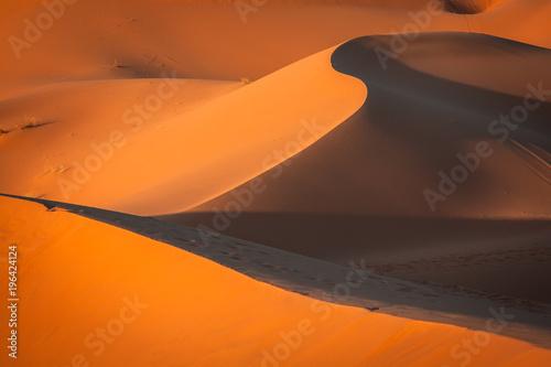 Fotobehang Marokko Sand Dunes in the Sahara Desert, Merzouga, Morocco