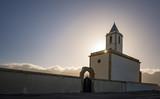 Las Salinas, famous church by the sea of Almeria: Old restored church in Cabo de Gata, more specifically in Las Salinas de Cabo de Gata, located next to the sea was restored a few years ago - 196424951