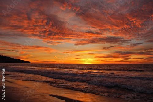 Aluminium Strand Fiery Sunset, Torrance Beach, California