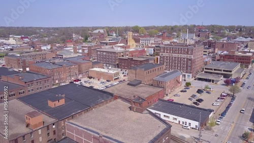 Rising aerial shot over small town America Burlington Iowa downtown.