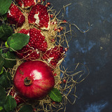 Red Pomegranate In The Starw, Rustic Style, Black Background, Top View