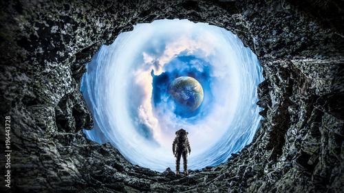 Foto op Plexiglas Hoogte schaal Space hole and astronaut. Mixed media