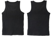 Blank Tank Top Color Black Front And Back View   Sticker