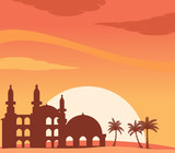 Mosque Silhouette At Sunset Background - 196445774