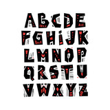 Vector capital cut out alphabet in pagan style with patterns. - 196448989