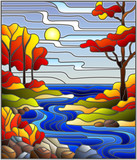 Illustration in stained glass style with a rocky Creek in the background of the Sunny sky, lake, trees and fields,autumn landscape - 196457944
