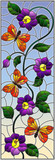 Illustration in stained glass style with abstract curly purple flower and an orange butterfly on sky background , vertical image